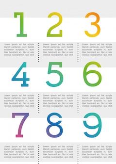 Diseño de números sobre fondo blanco ilustración vectorial