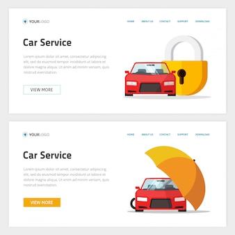 Diseño o maqueta de plantilla de sitio web de seguro de automóvil o servicio de protección de automóvil, página de inicio de sitio web de dibujos animados y vehículo protegido con escudo de bloqueo o banner de seguridad de paraguas