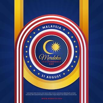 Diseño oficial bandera del día de la independencia de malasia
