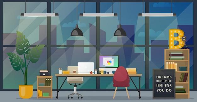 Diseño de la oficina moderna del lugar de trabajo.