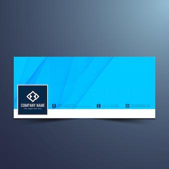 Diseño ondulado azul elegante para la timeline de facebook
