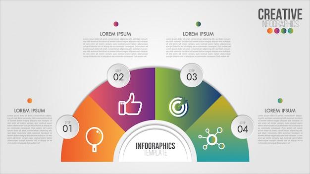 Diseño de opciones o pasos de plantilla de infografía 4 para negocios y cartera.