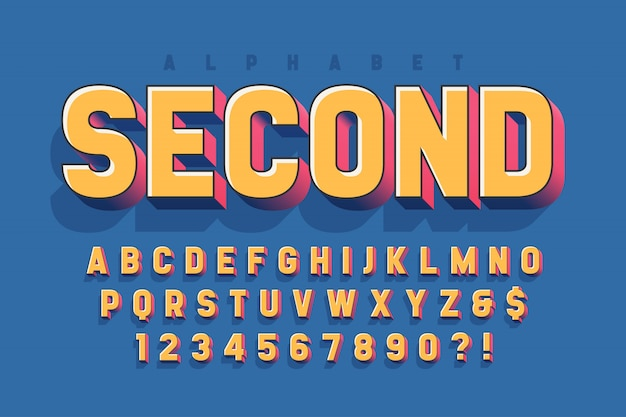 Diseño original de fuente de pantalla 3d, alfabeto, letras y números