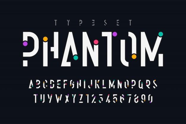 Diseño original de fuente de visualización de moda, alfabeto y números.
