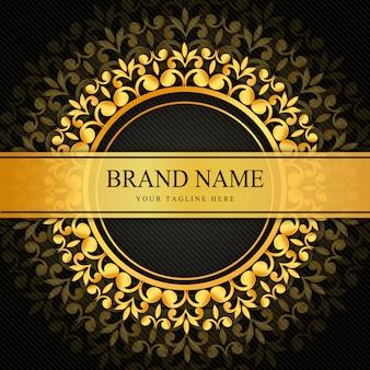 Diseño ornamental de lujo negro y dorado