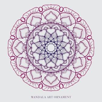Diseño de ornamento de vector de contorno de arte de mandala