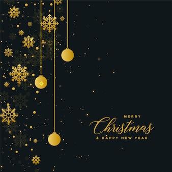 Diseño oscuro del cartel de la celebración de navidad con bolas de oro