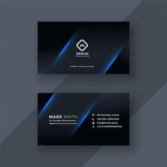 Diseño oscuro de la plantilla de la tarjeta de visita