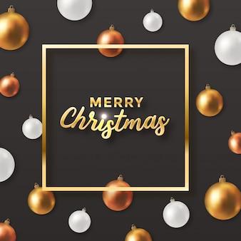 Diseño oscuro de saludo navideño con bolas decorativas
