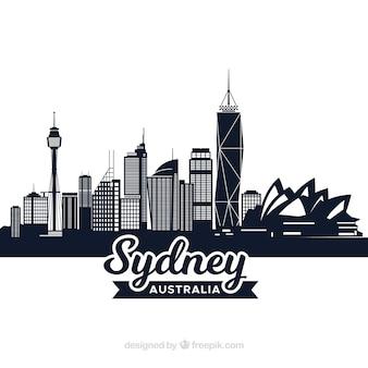 Diseño oscuro de la skyline de sydney