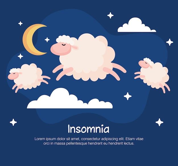 Diseño de ovejas y nubes de insomnio, tema de sueño y noche