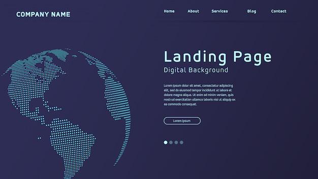 Diseño de página de aterrizaje basado en concepto con fondo mapa mundial en puntos