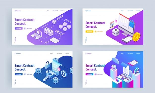 Diseño de página de aterrizaje basado en smart contract concept con diferentes plataformas establecidas.