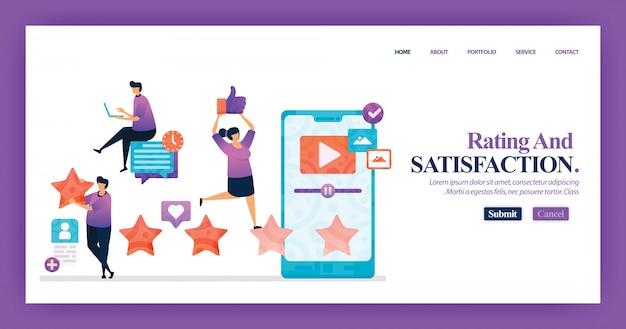 Diseño de página de aterrizaje de calificación de satisfacción
