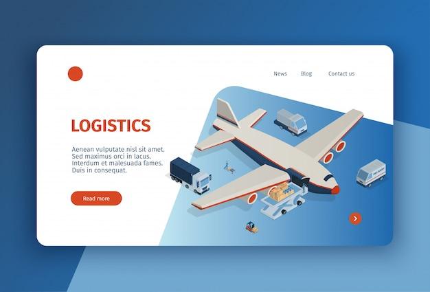 Diseño de página de aterrizaje de concepto de logística isométrica con enlaces en los que se puede hacer clic