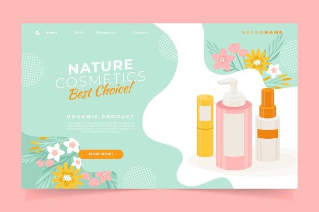Diseño de página de aterrizaje de cosméticos naturales.
