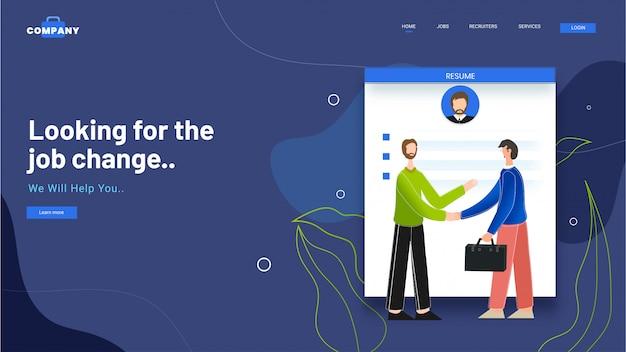 Diseño de página de aterrizaje con currículum para hombres de negocios dándose la mano en buscando el cambio de trabajo.