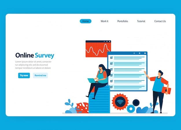 Diseño de página de aterrizaje para encuestas y exámenes en línea, llenando encuestas con internet y software de validación. ilustración plana