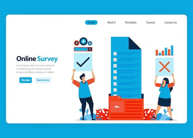 Diseño de página de aterrizaje para encuestas y exámenes en línea, organización de documentos de encuestas en la carpeta de flujo de trabajo. ilustración de dibujos animados plana
