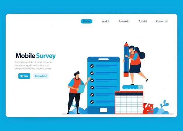 Diseño de página de aterrizaje para encuestas y exámenes en línea, revisando la satisfacción del cliente y la calificación de los usuarios con aplicaciones de encuestas móviles ilustración plana