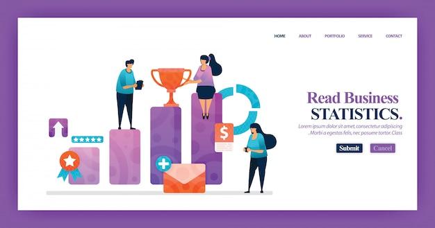 Diseño de página de aterrizaje de estadísticas de negocios