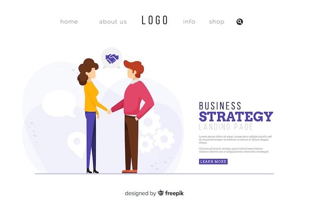 Diseño de página de aterrizaje de estrategia empresarial
