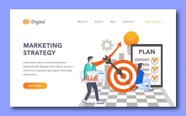 Diseño de página de aterrizaje de estrategia de marketing