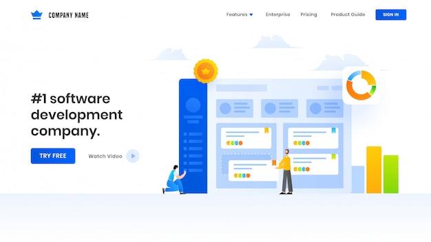 Diseño de página de aterrizaje con ilustración de hombres de negocios que mantienen el sitio web o datos de análisis de analistas para una empresa de desarrollo de software.