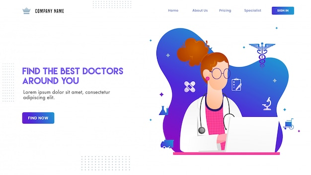 Diseño de página de aterrizaje con ilustración del personaje de doctora y elementos médicos