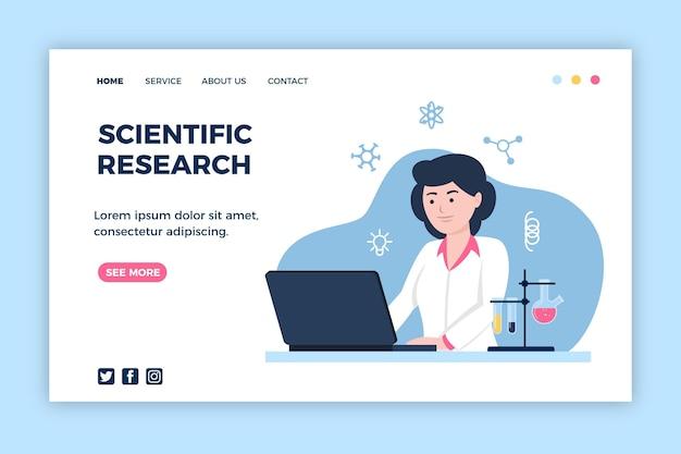 Diseño de página de aterrizaje de investigación científica