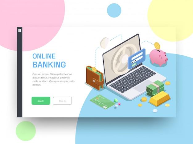 Diseño de página de aterrizaje isométrica financiera bancaria con botones en los que se puede hacer clic
