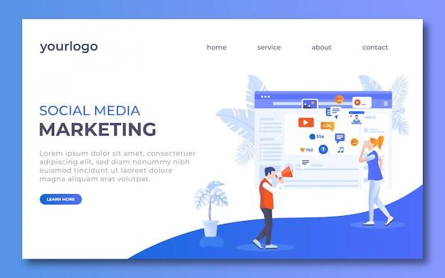 Diseño de página de aterrizaje de medios sociales