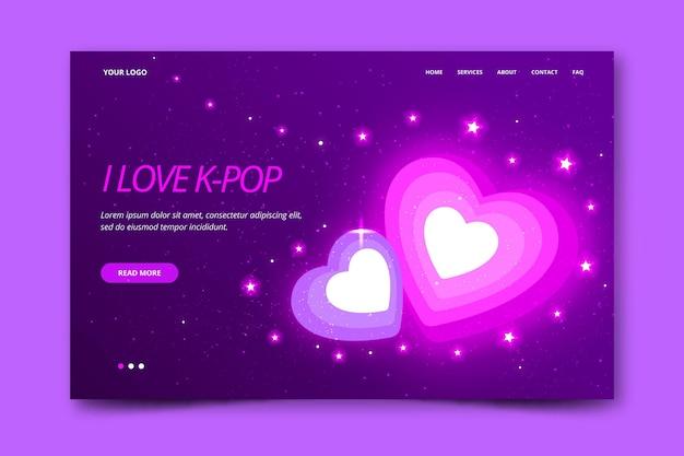 Diseño de página de aterrizaje de música k-pop