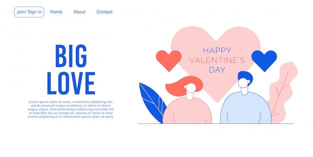 Diseño de página de aterrizaje de personas enamoradas del día de san valentín
