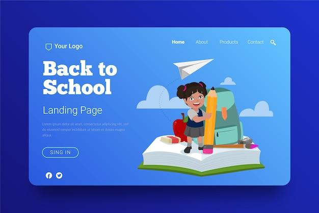 Diseño de página de aterrizaje de regreso a la escuela