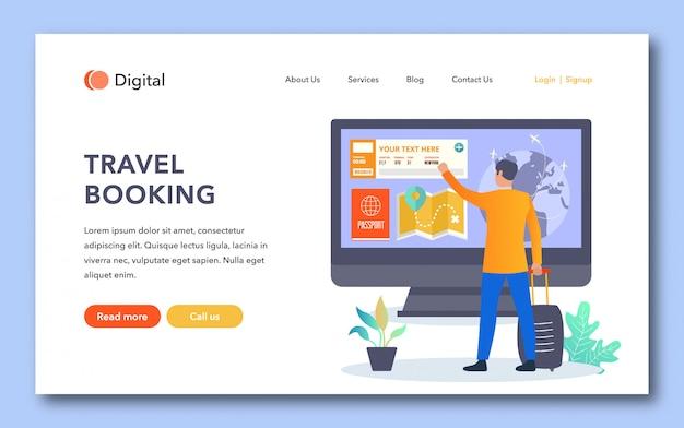 Diseño de página de aterrizaje de reserva de viaje
