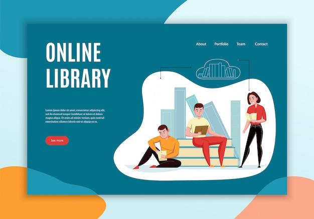 Diseño de página de aterrizaje del sitio web del concepto de biblioteca en línea con personas que leen libros contra estanterías en la nube