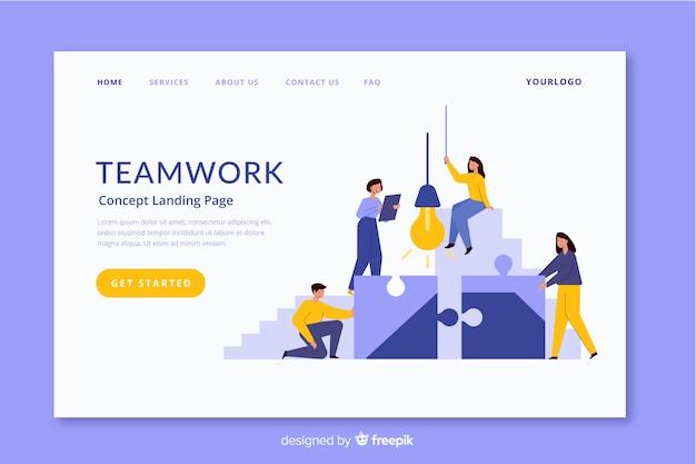 Diseño de página de aterrizaje de trabajo en equipo corporativo