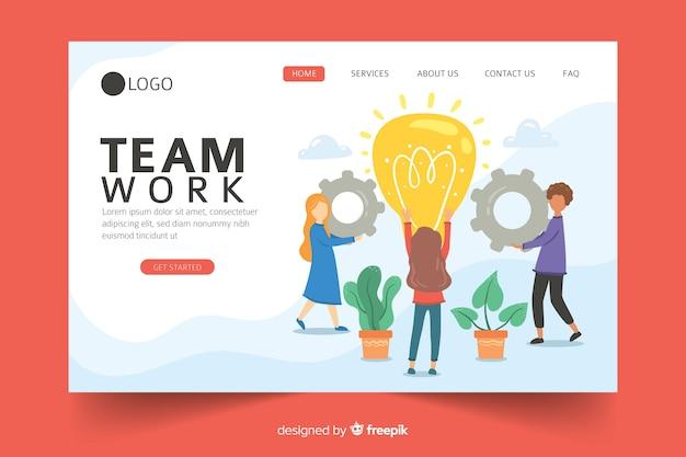 Diseño de página de aterrizaje de trabajo en equipo de negocios