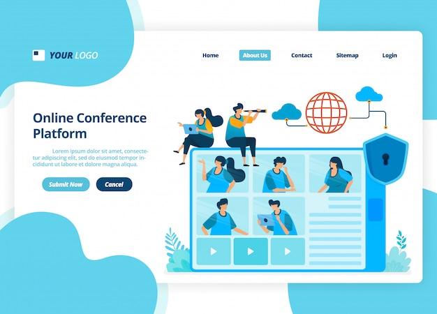 Diseño de página de aterrizaje de video conferencia en línea. reuniones de negocios y discusiones.