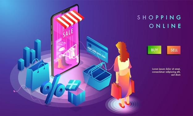 Diseño de página de destino de compras en línea.