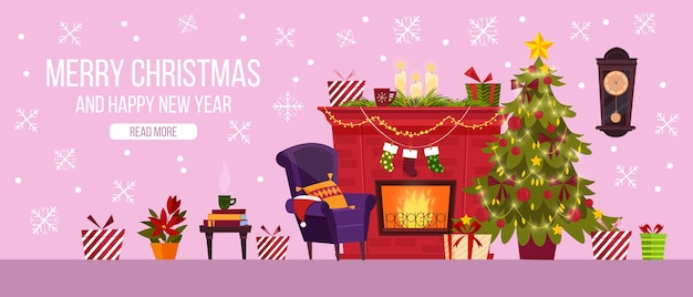 Diseño de página de destino de feliz navidad con interior de habitación, chimenea, regalos, árbol decorado