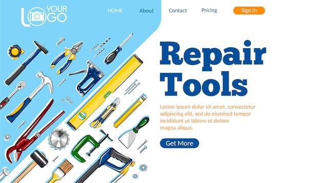 Diseño de página de destino de herramientas de reparación