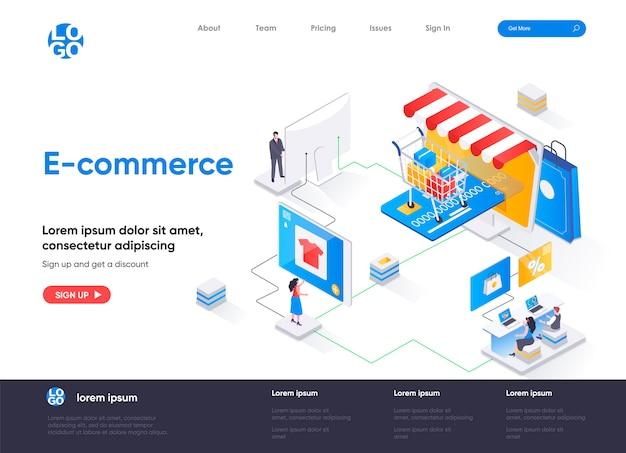 Diseño de página de destino isométrica de comercio electrónico.