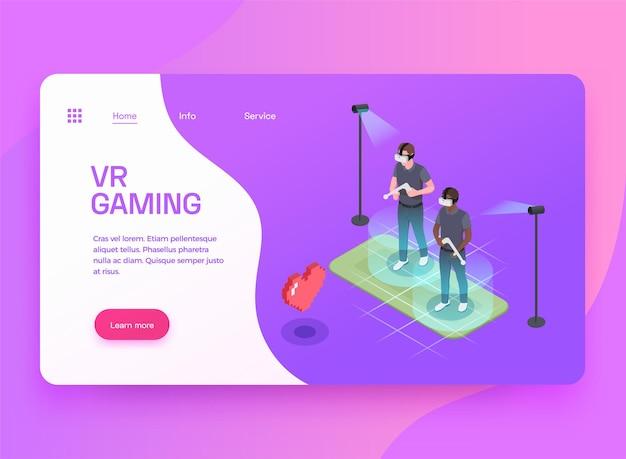 Diseño de página de destino isométrica de entretenimiento de juegos de realidad mixta virtual aumentada con dos jugadores en auriculares