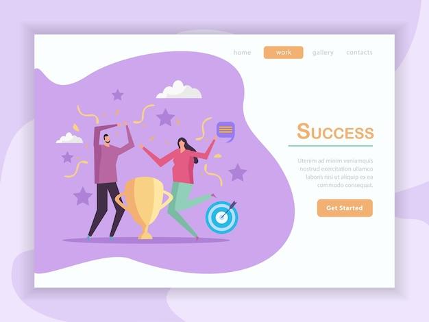 Diseño de página de destino plana de concepto de éxito con texto de botones en los que se puede hacer clic e imágenes de personas con iconos ilustración vectorial