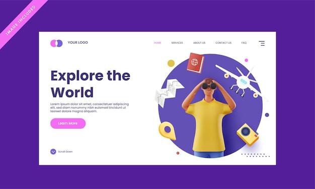 Diseño de página de destino receptivo con renderizado 3d hombre mirando a través de binoculares para explorar el concepto del mundo.