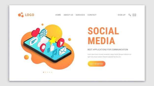 Diseño de página de destino de redes sociales isométricas con texto y botón. iconos de aplicaciones planas en la pantalla del teléfono inteligente. concepto de sitio web 3d con chat, video, correo, teléfono, como, signo de música.