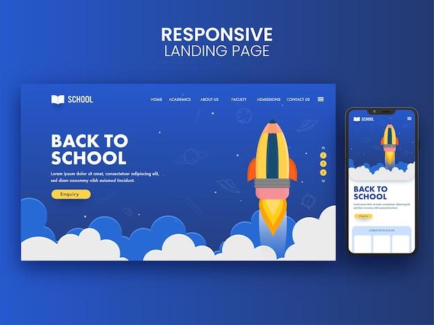 Diseño de página de destino de regreso a la escuela con lanzamiento de cohetes e ilustración de teléfono inteligente