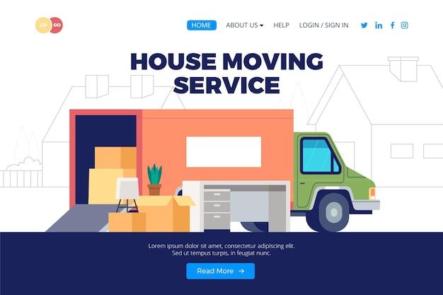 Diseño de página de destino de servicios de mudanza de casa